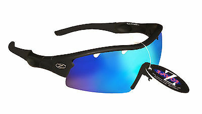RayZor Black Uv400 One Piece Vented Blue Mirrored Lens Cricket Sunglasses RRP£49