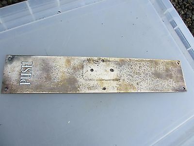 "Antique Bronze Finger Plate Door Handle Enamel ""PUSH"" Victorian - Edwardian Old"