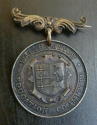 Walthamstow Education Committee School Attendance Medallion Silvered Bronze 1910