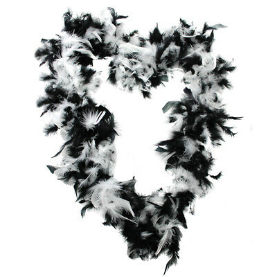 Black White 65Gr Feather Boa Fancy Dress Accessory Hen Night Gangster Flapper