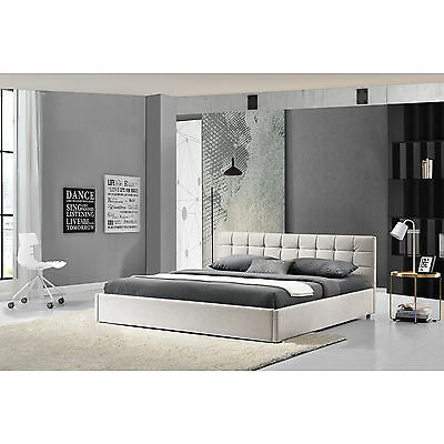 My.Bed Upholstered bed 140x200cm white imitation leather Double Bedstead