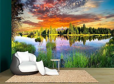 Sun Set Clouds Lake Forest Nature Wall Mural Photo Wallpaper GIANT WALL DECOR