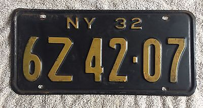 Nice Good Solid 1932 New York License Plate  Free Shipping