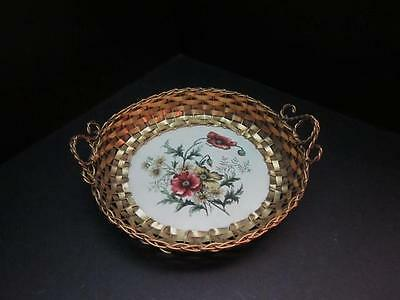 Vintage Business /Calling Card Tray or Basket, Wire Work & Pottery, c 1910s-20's