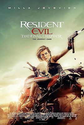 """Resident Evil The Final Chapter 2017 Movie New Rare HQ Unique Film Poster 27x40"""""""