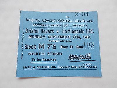 Bristol Rovers V Hartlepools United Ticket  For League Cup Match 11/9/1961