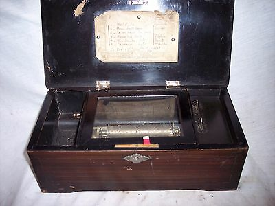 Antique Music Cylinder Music Box For Parts Or Restoration