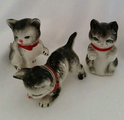 Set  of 3 Vintage Ceramic Tabby Cats  Wearing Red Ribbons, Japan