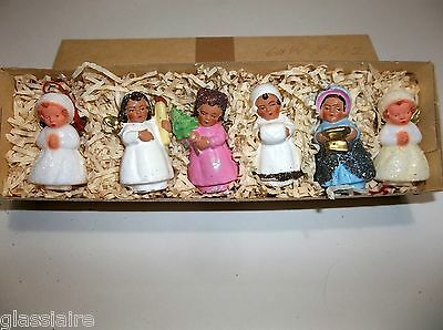 Vintage German Paper Mache Angel FEATHER TREE Christmas Ornaments Set Of 6