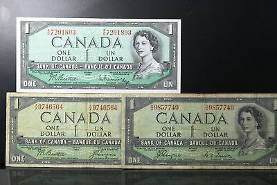 1954 Canada Lot of Three $1.00 One Dollar Notes (1 Devil's Face) (NUM2608)