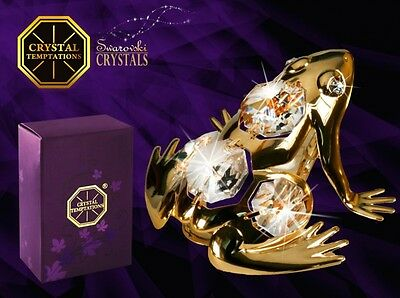 Swarovski crystal figure 24k gold plated Frog animal nature