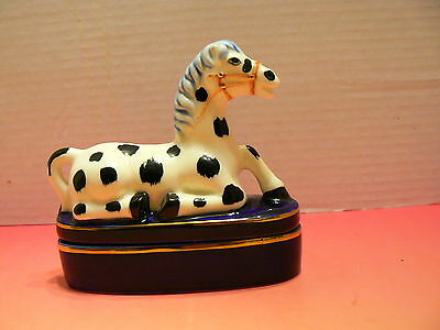 Fitz And Floyd Black and White Spotted Horse Trinket Box Blue base EUC