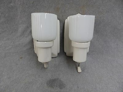 Vtg Art Deco Ceramic White Porcelain Sconce Pair Milk Glass Shades Old 2004-16