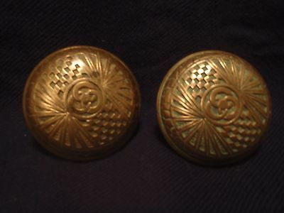 antique Victorian Eastlake embossed doorknobs set of 2