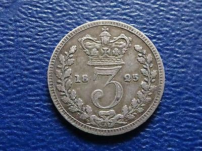 Great Britain - Rare George 1111 Silver Maundy Threepence 1825