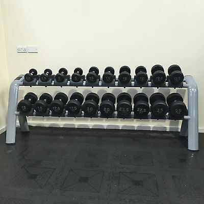 *NEW* 2.5Kg-25Kg Series One Solid End Rubber Dumbbell Set & Rack (Gym Equipment)