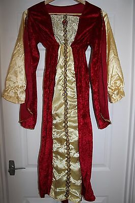 Children's Red & Gold Long Medieval Dress Tudor Queen Outfit / Costume Dress Up