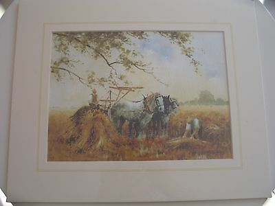 Limited edition mounted print of a farming scene by Christopher Jarvis