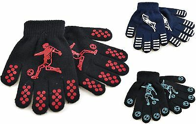 Kids Boys Magic Football Designs Gripper Winter Acrylic Gloves School Xmas Gift