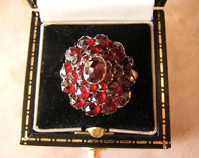 FINE ANTIQUE VICTORIAN BOHEMIAN GARNET RING - 4 tiered cluster AUSTRO HUNGARIAN
