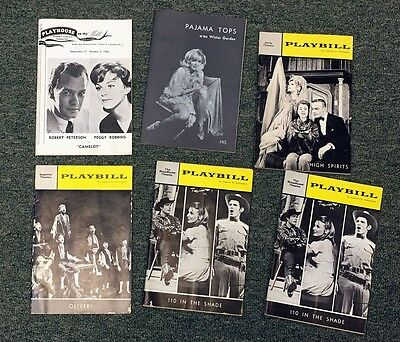 1950S/60S Vintage Playbill And Theater Program Lot (6) Nice Condition