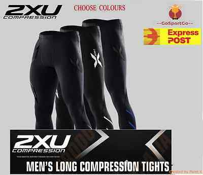 2XU Compression Mens Long Tights ( Black/ Gold/ Blue/ Silver)