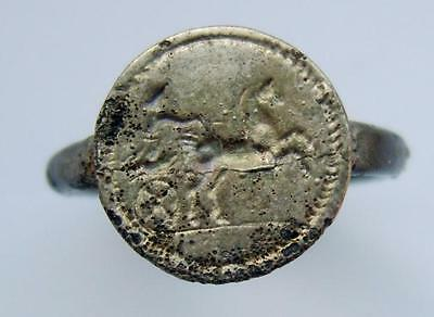 Greek Silver Alloy Finger Ring Of B.c. Period Horse Chariot Scene Bezel