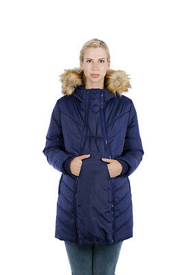 Winter Maternity Coat Puffer Quilted Chevron with Faux Fur Hood
