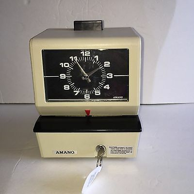 Vintage Amano Punch Time Clock Model 3636 With Key