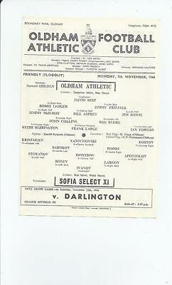 Oldham Athletic v Sofia Select X1  Friendly Footall Programme 1966/67