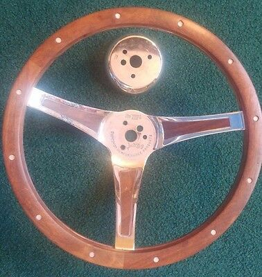 """Nice Vintage Wooden Grip Steering Wheel Superior Performance Products """"The 500"""""""