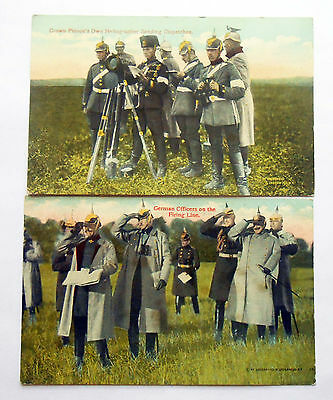 2 WW1 German Color Postcards featuring Crown Prince's Heliographer and Kaiser