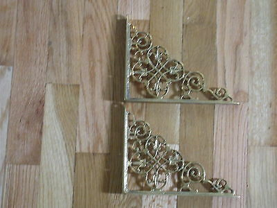 pair solid brass heavey duty brackets nice 7.5 inches long 5.75 inches wide