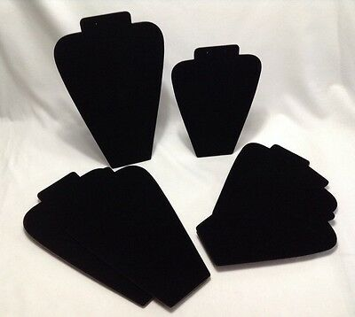 Black Velvet Jewelry Easels Lot of 7 Two Sizes Necklace Earrings Display