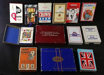 Job Lot Of 13 Packs Of Vintage Playing Cards & Card Games, Ferry, Donkey, Casino
