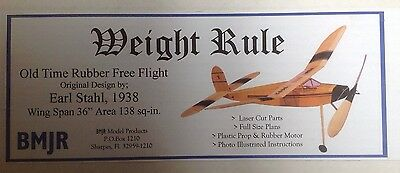 "BNIB WEIGHT RULE Old TImer 36"" Rubber Powered Model Aeroplane Kit By BMJR"