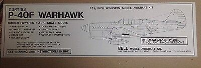 Bnib Curtiss P-40F Warhawk Rubber Powered Model Airplane Kit
