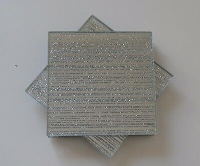 Set 4 Silver Square Mirrored Striped Glass Glitter Sparkle Drinks Mats Coasters
