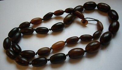 Antique Chinese Graduated Buffalo Horn Beads Beaded Necklace Knotted