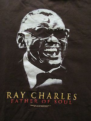 RAY CHARLES Father of Soul Brown cotton T-shirt, ZION ROOTSWEAR, sz Adult Medium