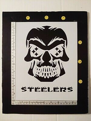 "Pittsburgh Steelers Skull Football 8.5"" x 11"" Custom Stencil FAST FREE SHIPPING"
