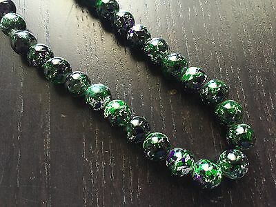 Fine Old Chinese Carved Polished Black Speckled Glass Art Beaded Necklace NR