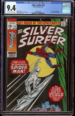 Silver Surfer # 14 CGC 9.4 OW/W (Marvel, 1970) Spider-man appearance