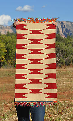 Old Navajo Germantown Rug - Great Geometric Design In Red & Cream White 36 X 17
