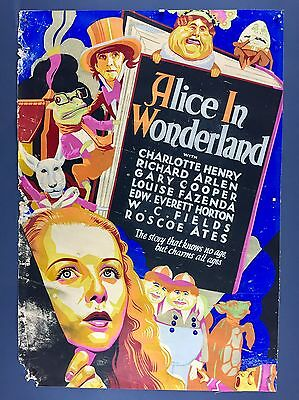 Ultra Rare ALICE IN WONDERLAND 1933 Trimmed Orig Movie Poster WC Fields Art Deco
