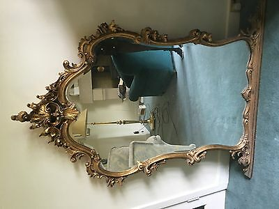 Large ornate gilt mirror huge carved gilt ROCOCCO style mirror 1m tall mirror
