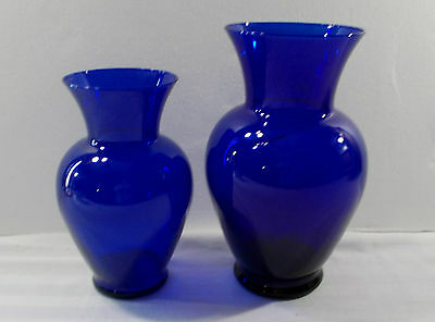 """SET OF 2 COBALT BLUE GLASS VASES 10 1/2"""" and 8 3/4"""" TALL EXCELLENT"""