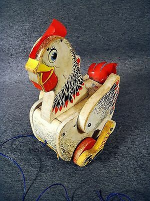 Vintage Fisher Price 120 Cackling Hen Pull Toy Working Cackle Sound