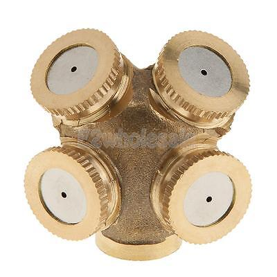 "4-Head Brass 1/2"" Gardening Grass Lawn Spray Nozzle Irrigation Sprinkler"