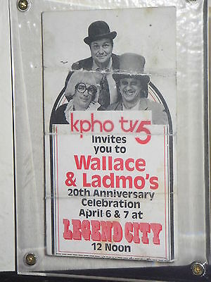 Wallace and Ladmo 8 Autographs Legend City Anniversary Ticket + Museum postcard